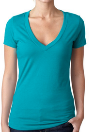 Blue Green Ladies Deep V-Neck